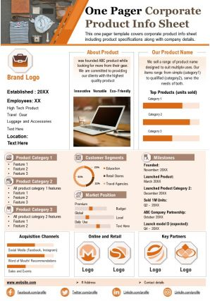 One Pager Corporate Product Info Sheet Presentation Report Infographic PPT PDF Document
