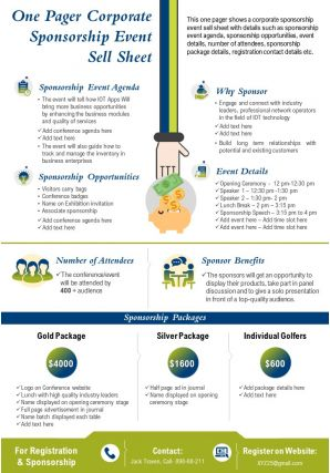 One Pager Corporate Sponsorship Event Sell Sheet Presentation Report Infographic Ppt Pdf Document