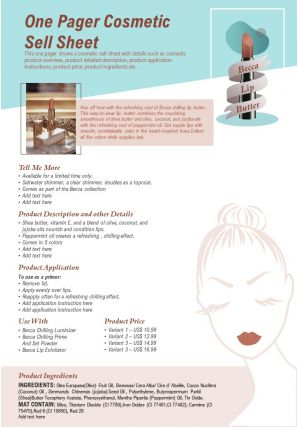 One Pager Cosmetic Sell Sheet Presentation Report Infographic Ppt Pdf Document