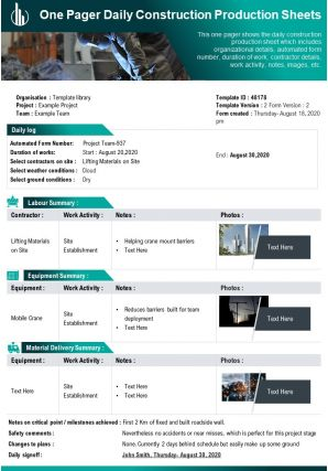 One Pager Daily Construction Production Sheets Presentation Report Infographic PPT PDF Document