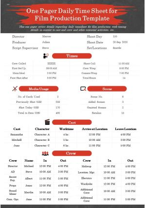 One Pager Daily Time Sheet For Film Production Template Presentation Report Infographic PPT PDF Document