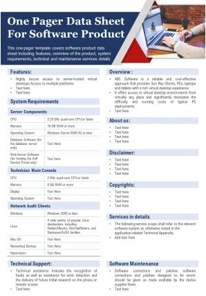 One Pager Data Sheet For Software Product Presentation Report Infographic PPT PDF Document