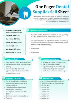 One Pager Dental Supplies Sell Sheet Presentation Report Infographic PPT PDF Document