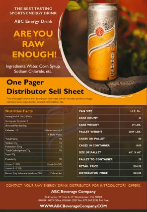 One Pager Distributor Sell Sheet Presentation Report Infographic PPT PDF Document