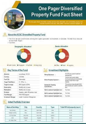 One Pager Diversified Property Fund Fact Sheet Presentation Report Infographic PPT PDF Document