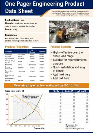 One Pager Engineering Product Data Sheet Presentation Report Infographic PPT PDF Document