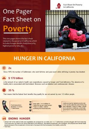 One Pager Fact Sheet On Poverty Presentation Report Infographic PPT PDF Document