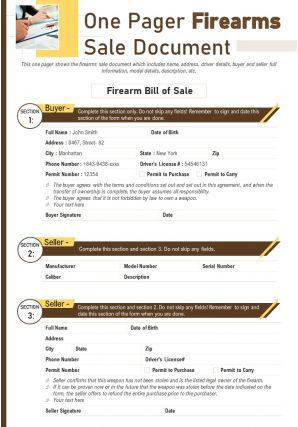 One Pager Firearms Sale Document Presentation Report Infographic PPT PDF Document
