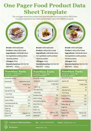 One Pager Food Product Data Sheet Template Presentation Report Infographic PPT PDF Document