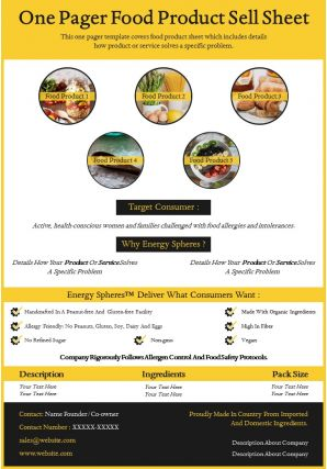 One Pager Food Product Sell Sheet Presentation Report Infographic PPT PDF Document