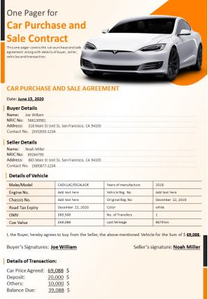One Pager For Car Purchase And Sale Contract Presentation Report Infographic PPT PDF Document