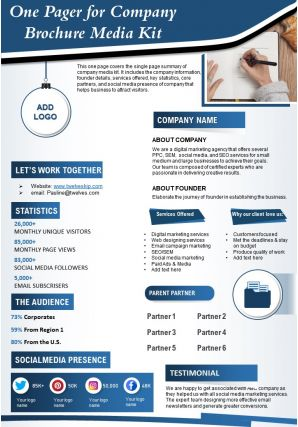 One Pager For Company Brochure Media Kit Presentation Report Infographic PPT PDF Document