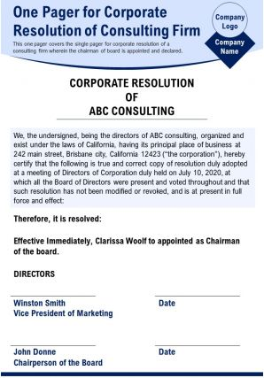 One Pager For Corporate Resolution Of Consulting Firm Presentation Report Infographic PPT PDF Document