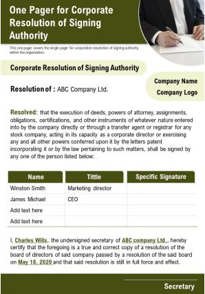 One Pager For Corporate Resolution Of Signing Authority Presentation Report Infographic PPT PDF Document