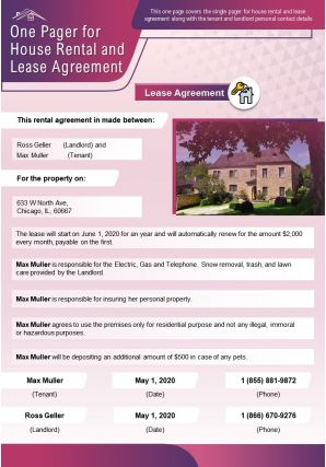 One Pager For House Rental And Lease Agreement Presentation Report Infographic PPT PDF Document