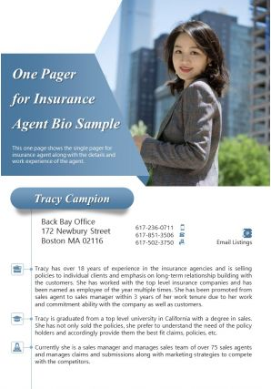 One Pager For Insurance Agent Bio Sample Presentation Report Infographic PPT PDF Document