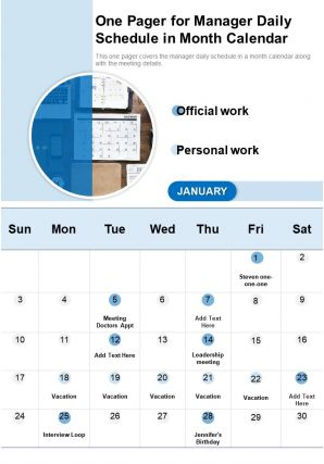 One Pager For Manager Daily Schedule In Month Calendar Presentation Report Infographic PPT PDF Document