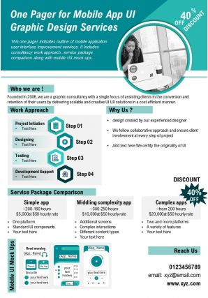 One Pager For Mobile App UI Graphic Design Services Presentation Report PPT PDF Document