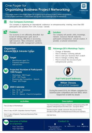 One Pager For Organizing Business Project Networking Presentation Report Infographic PPT PDF Document