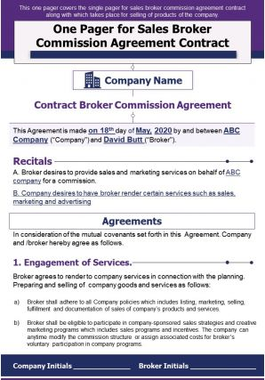 One Pager For Sales Broker Commission Agreement Contract Presentation Report PPT PDF Document