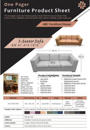 One Pager Furniture Product Sheet Presentation Report Infographic PPT PDF Document
