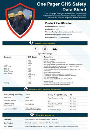 One Pager GHS Safety Data Sheet Presentation Report Infographic PPT PDF Document