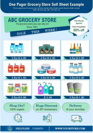 One Pager Grocery Store Sell Sheet Example Presentation Report Infographic PPT PDF Document