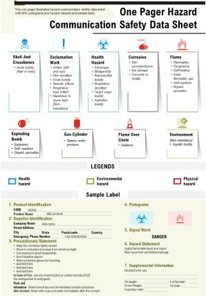 One Pager Hazard Communication Safety Data Sheet Presentation Report Infographic PPT PDF Document