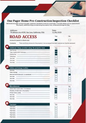 One Pager Home Pre Construction Inspection Checklist Presentation Report Infographic PPT PDF Document