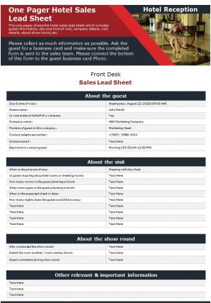 One Pager Hotel Sales Lead Sheet Presentation Report Infographic PPT PDF Document