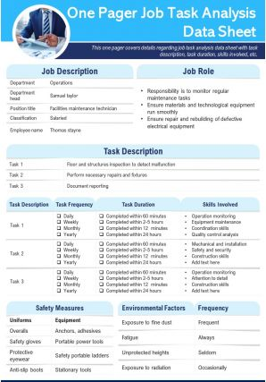 One Pager Job Task Analysis Data Sheet Presentation Report Infographic PPT PDF Document