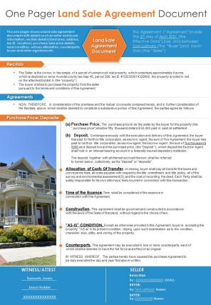 One Pager Land Sale Agreement Presentation Report Infographic PPT PDF Document