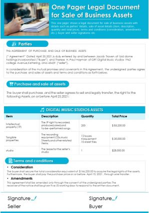 One Pager Legal Document For Sale Of Business Assets Report PPT PDF Document