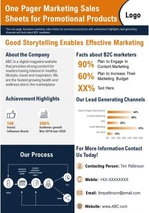 One Pager Marketing Sales Sheets For Promotional Products Presentation Report Infographic PPT PDF Document