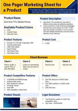 One Pager Marketing Sheet For A Product Presentation Report Infographic PPT PDF Document