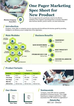 One Pager Marketing Spec Sheet For New Product Presentation Report Infographic Ppt Pdf Document