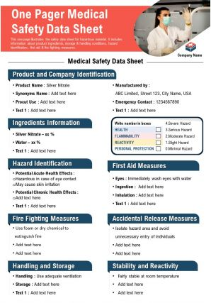 One Pager Medical Safety Data Sheet Presentation Report Infographic PPT PDF Document