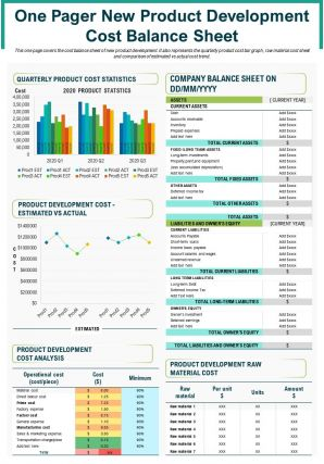 One Pager New Product Development Cost Balance Sheet Presentation Report Infographic Ppt Pdf Document