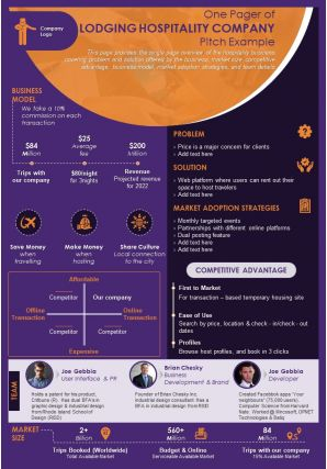 One Pager Of Lodging Hospitality Company Pitch Example Presentation Report Infographic PPT PDF Document