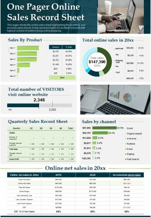One Pager Online Sales Record Sheet Template Presentation Report Infographic Ppt Pdf Document