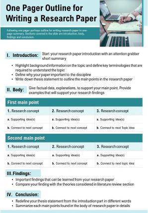 One Pager Outline For Writing A Research Paper Presentation Report Infographic PPT PDF Document