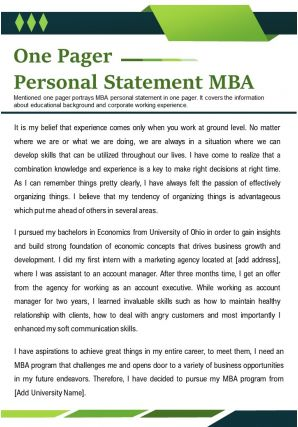 One Pager Personal Statement MBA Presentation Report Infographic PPT PDF Document