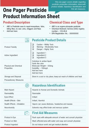 One Pager Pesticide Product Information Sheet Presentation Report Infographic PPT PDF Document