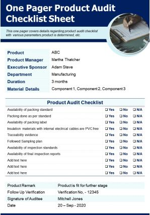 One Pager Product Audit Checklist Sheet Presentation Report Infographic PPT PDF Document