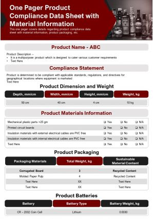 One Pager Product Compliance Data Sheet With Material Information Report PPT PDF Document