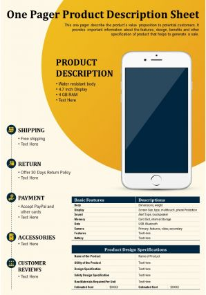 One Pager Product Description Sheet Presentation Report Infographic PPT PDF Document