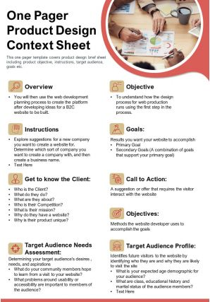 One Pager Product Design Context Sheet Presentation Report Infographic PPT PDF Document