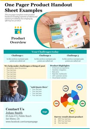 One Pager Product Handout Sheet Examples Presentation Report Infographic PPT PDF Document