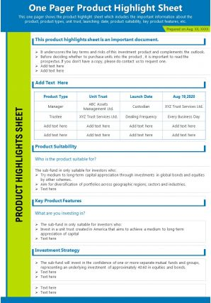 One Pager Product Highlight Sheet Presentation Report Infographic PPT PDF Document