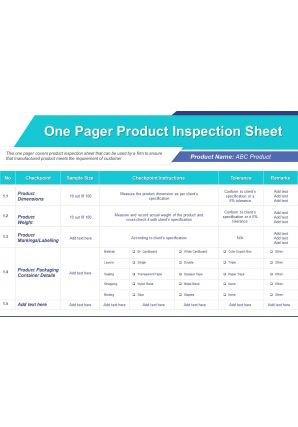 One Pager Product Inspection Sheet Presentation Report Infographic PPT PDF Document